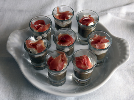 verrine de roquefort au jambon cru